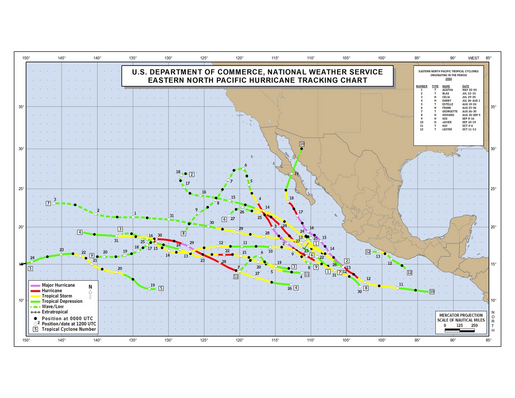 2004 Eastern Pacific Hurricane Season Track Map