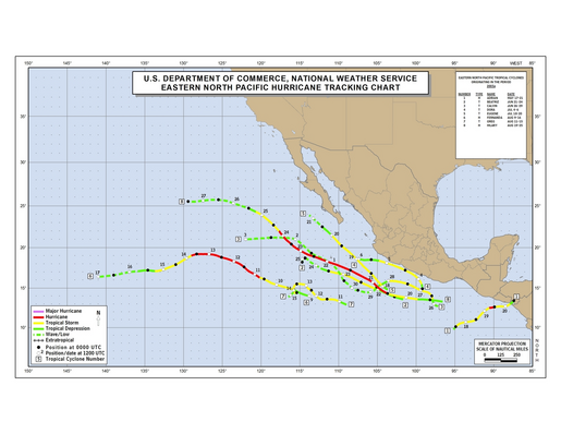 2005 Eastern North Pacific Hurricane Season Track Map