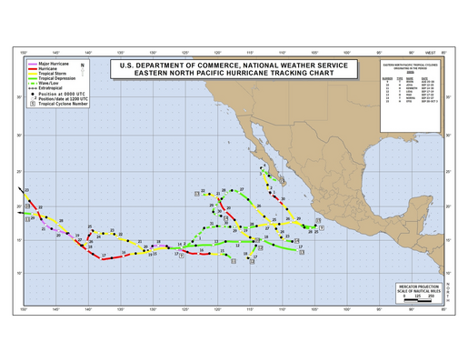 2005 Eastern Pacific Hurricane Season Track Map