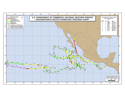 2007 Eastern North Pacific Hurricane Season Track Map