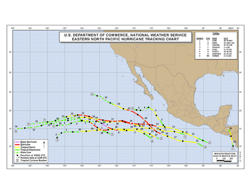 2008 Eastern Pacific Hurricane Season Track Map (part a)