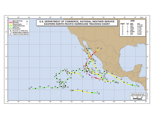 2008 Eastern North Pacific Hurricane Season Track Map Part b