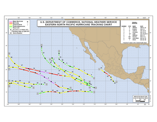 2009 Eastern North Pacific Hurricane Season Track Map Part a
