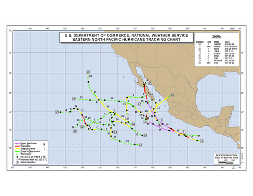 2009 Eastern North Pacific Hurricane Season Track Map Part b