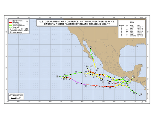2010 Eastern North Pacific Hurricane Season Track Map