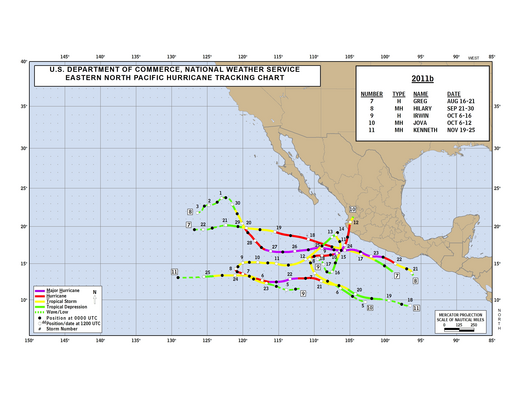 2011 Eastern North Pacific Hurricane Season Track Map Part b