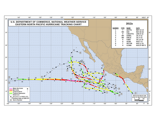 2012 Eastern Pacific Hurricane Season Track Map Part a