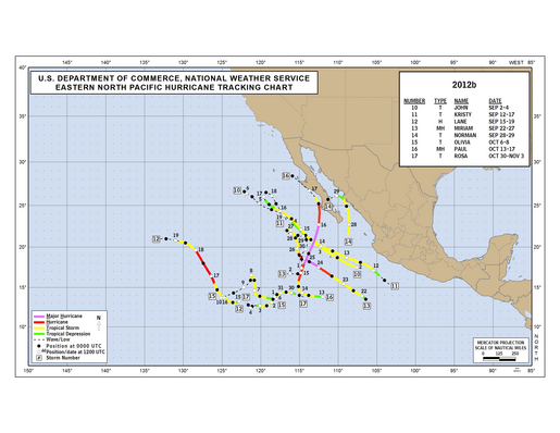 2012 Eastern North Pacific Hurricane Season Track Map Part b