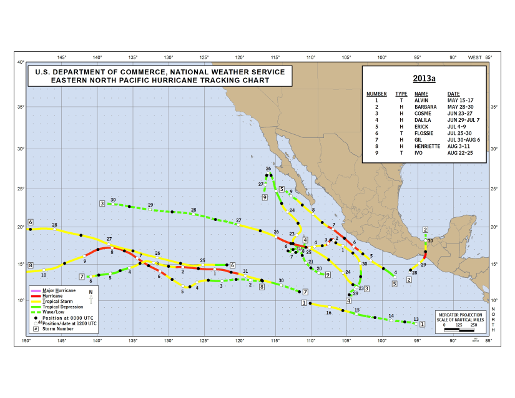 2013 Eastern North Pacific Hurricane Season Track Map Part a