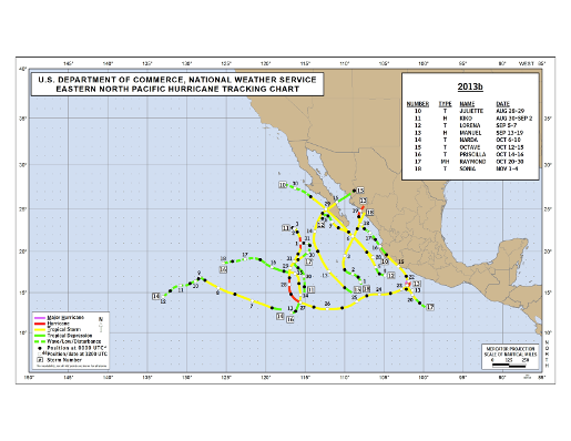 2013 Eastern North Pacific Hurricane Season Track Map Part b
