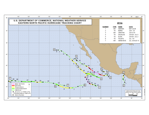 2014 Eastern North Pacific Hurricane Season Track Map Part a