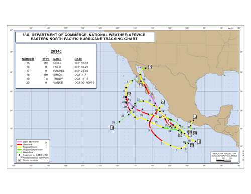 2014 Eastern North Pacific Hurricane Season Track Map Part c