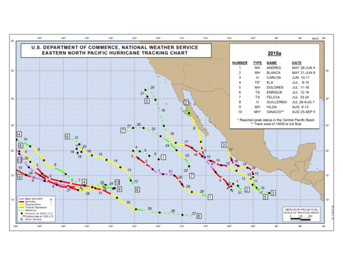 2015 Eastern North Pacific Hurricane Season Track Map Part a