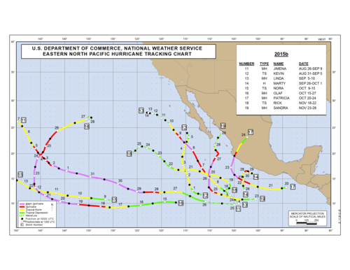 2015 Eastern North Pacific Hurricane Season Track Map Part b