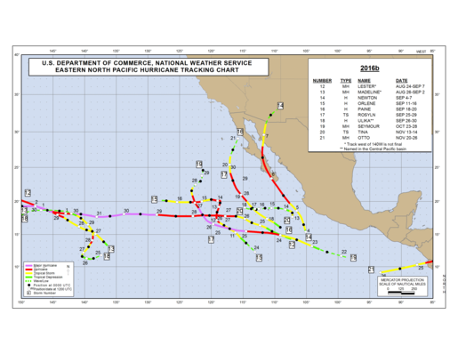 2016 Eastern North Pacific Hurricane Season Track Map Part b