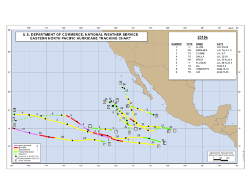 2019 Eastern North Pacific Hurricane Season Track Map Part a