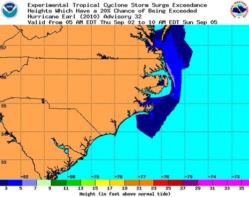 Probabilístico Tormenta Tropical Cyclone Oleada de excedencia por ejemplo 20%