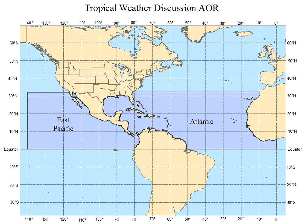 Map Of Tropical Weather Discussion Area Of Responsibility