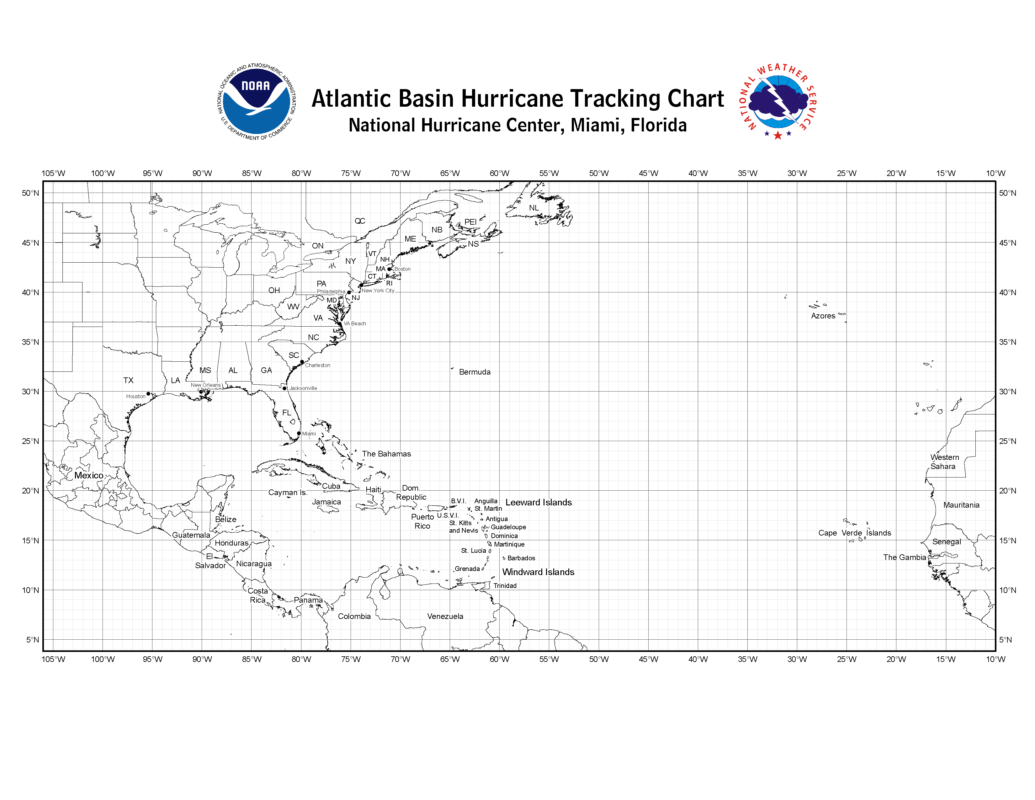 photo about Printable Hurricane Tracking Maps titled NHC Blank Monitoring Charts