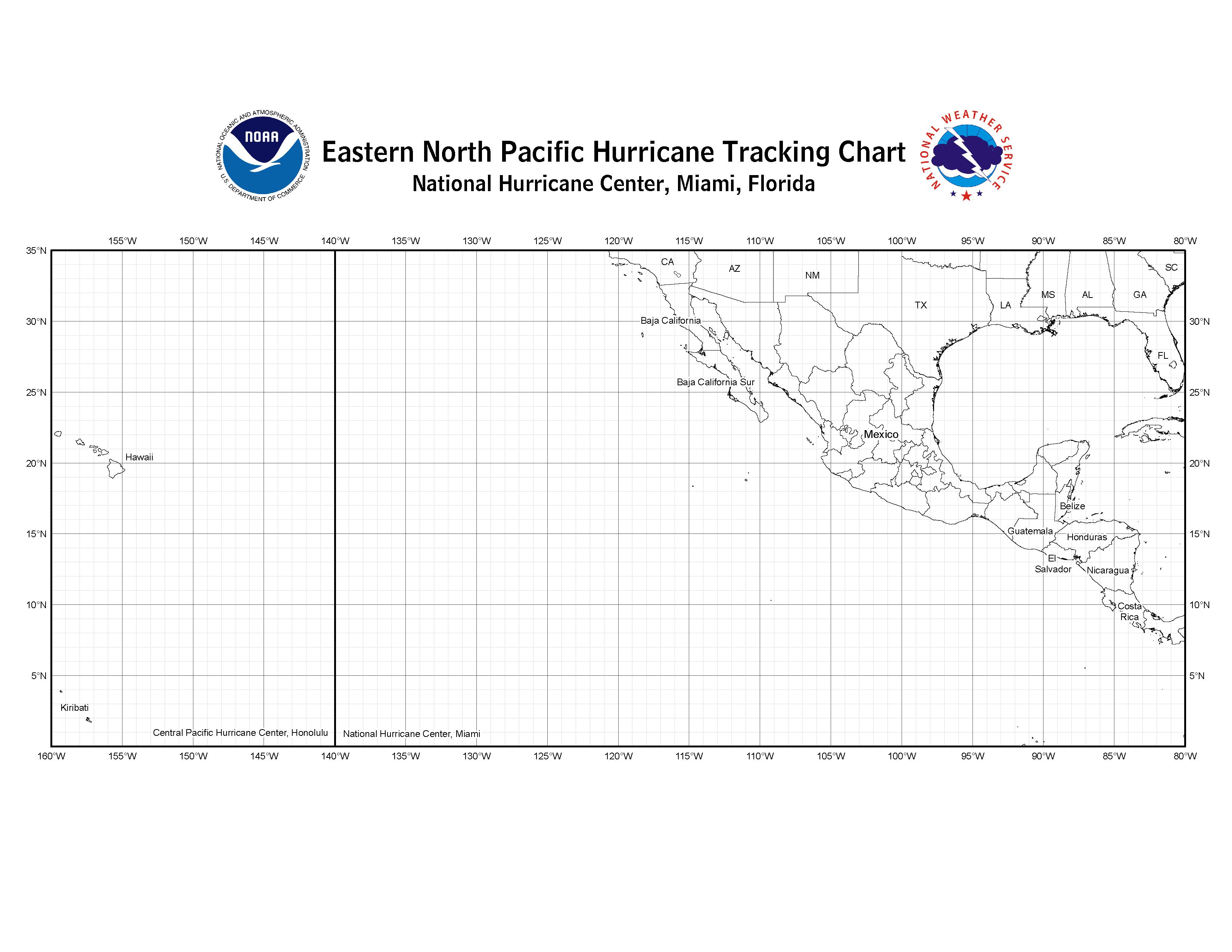 picture regarding Hurricane Tracking Map Printable named NHC Blank Monitoring Charts