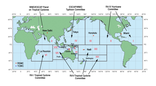 Worldwide map of WMO-designated Tropical Cyclone Regions and Centers