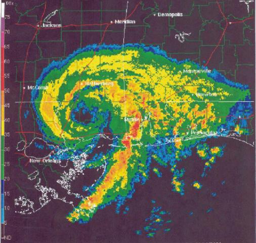 1227 UTC 11 June 2001 radar reflectivity image from Mobile, AL