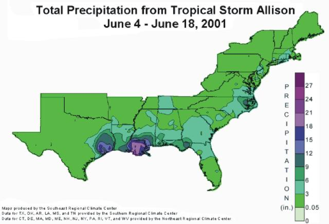Storm total rainfall for Tropical Storm Allison during the  period 4-18 June 2001