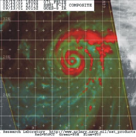 Microwave satellite imagery from the DMSP Special Sensor Microwave Imager, 2107 UTC 13 September