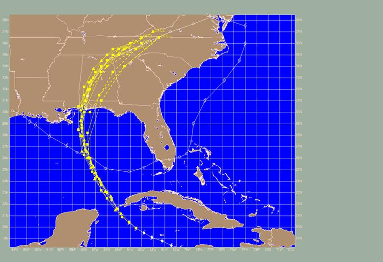NHC Official forecast tracks (OFCL) for Hurricane Ivan