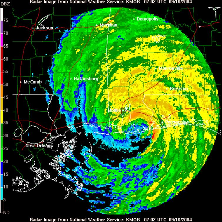 Reflectivity image of Hurricane Ivan from Mobile, AL