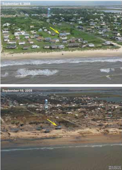 Before and after Hurricane Ike on the Bolivar Peninsula, TX - September 2008/USGS