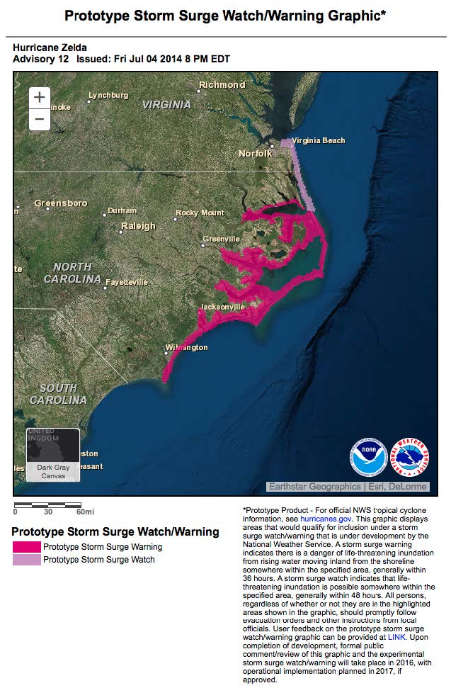 Prototype Storm Surge Watch and Warning Graphic example