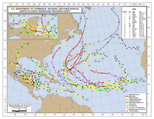 2010 Atlantic Season Hurricane Tracking Map