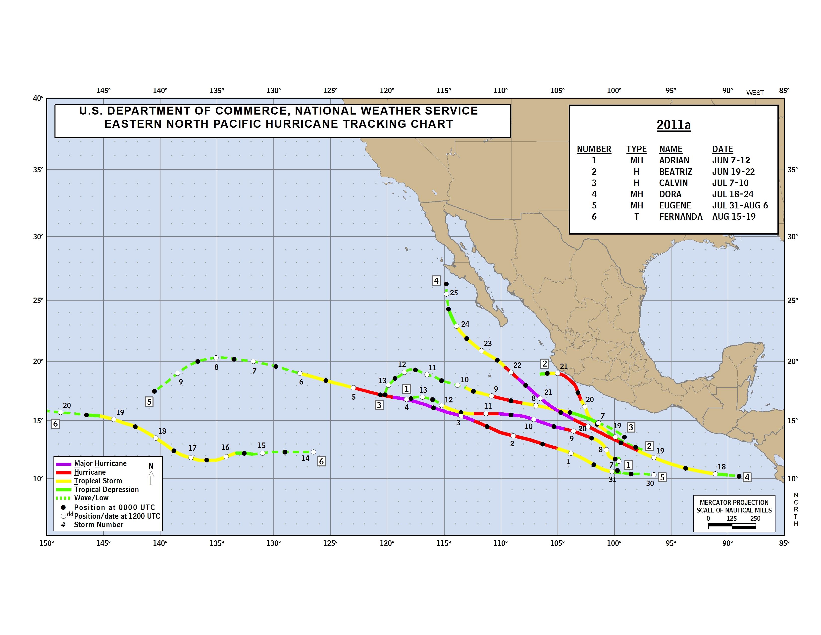 Pazifische Hurrikansaison 2011: Track Map und alle Sturmdetails