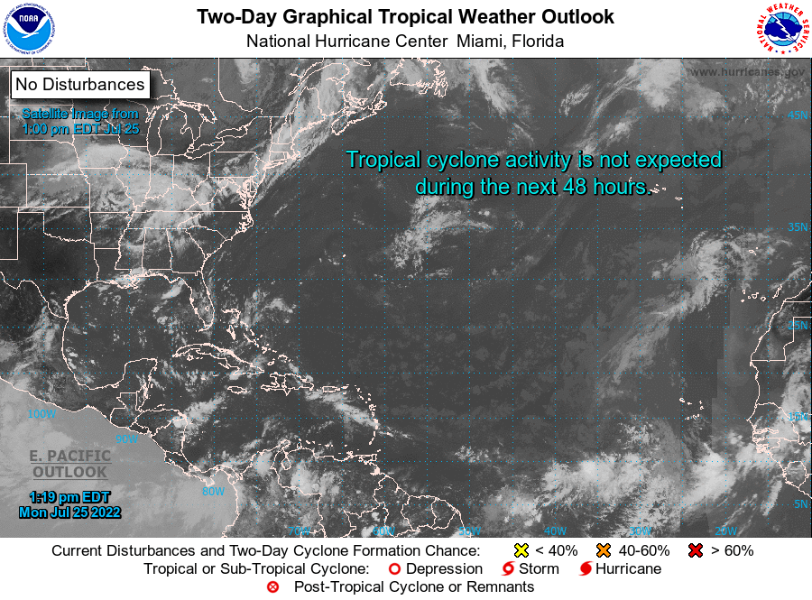 NHC's Graphical Tropical Weather Outlook map showing several areas worth monitoring over the coming days