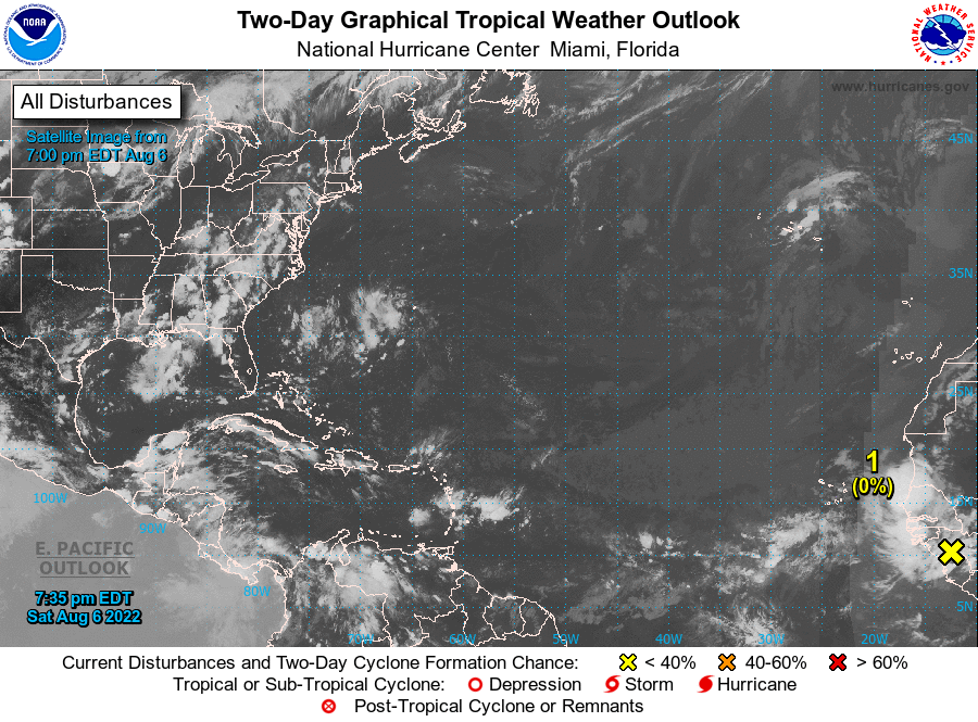 5 Day Tropical Weather Outlook map from the NHC showing the high chance of development for invest area 93L