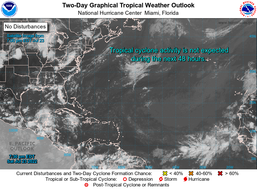 The graphical tropical weather outlook issued by the National Hurricane Center