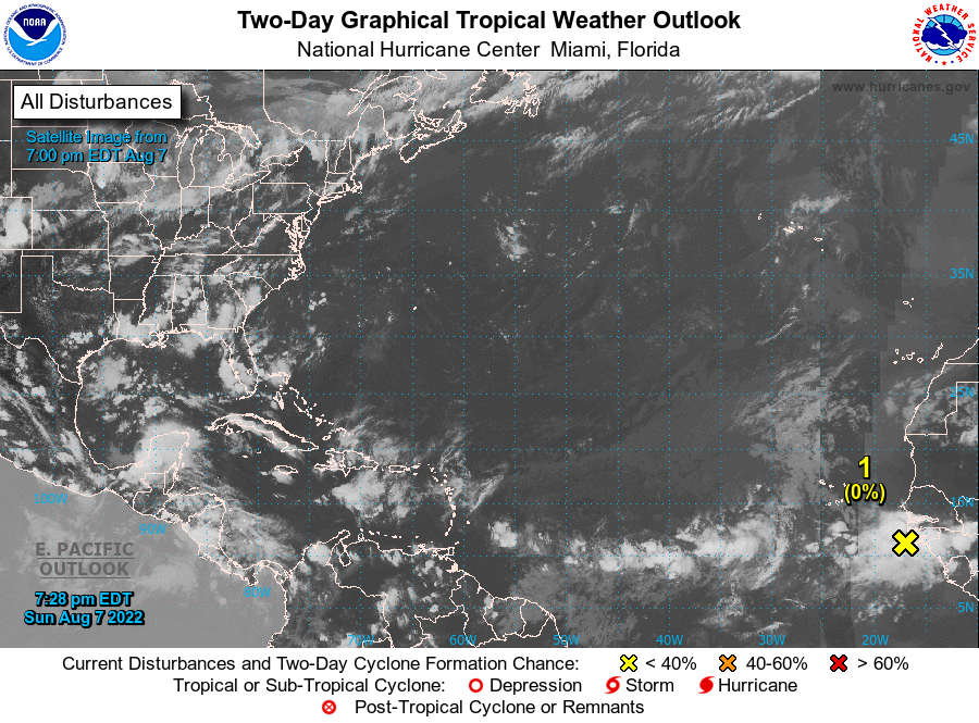 NHC Graphical Tropical Weather Outlook. Please be patient while the latest image loads.