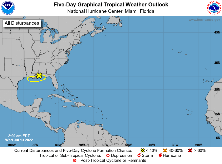 NHC 5-Day Tropical Weather Outlook Map