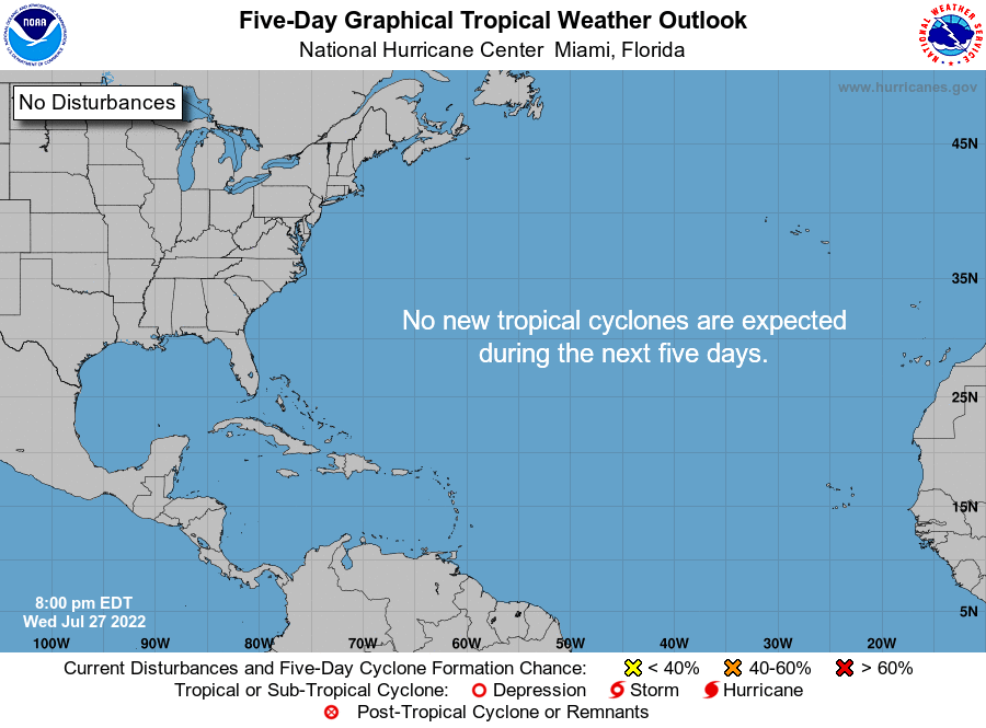 5-day graphical tropical weather outlook map from the National Hurricane Center showing 93L over the tropical Atlantic