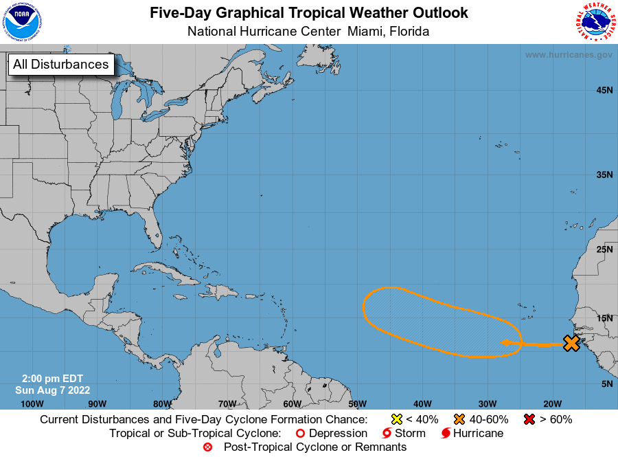 Florida Atlantic Coast Map.Atlantic 5 Day Graphical Tropical Weather Outlook