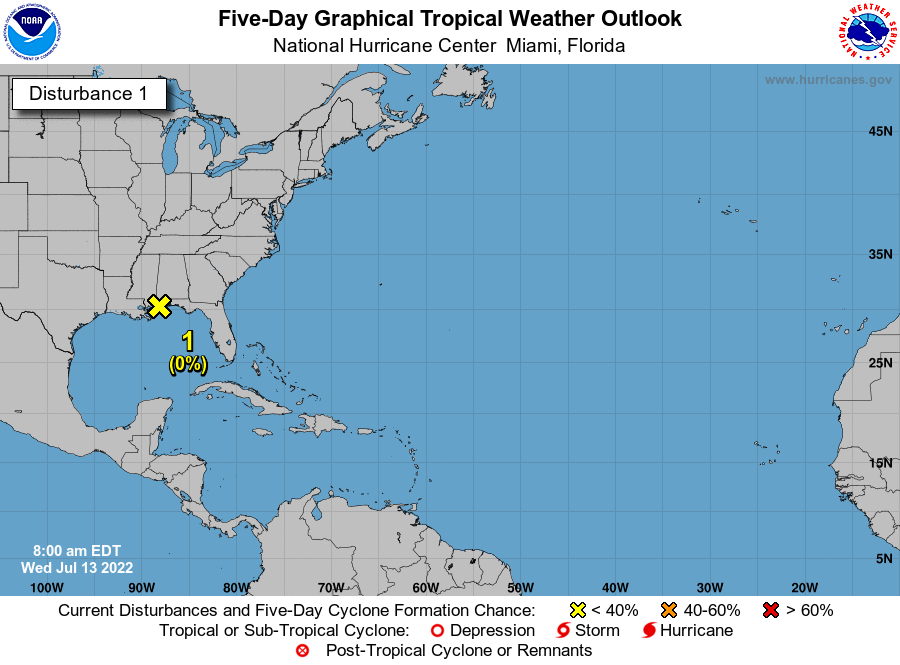 NHC 5-day tropical weather outlook map showing invest area 90L and the probable area for future development. The main issue will be heavy rain which we will need to monitor closely.