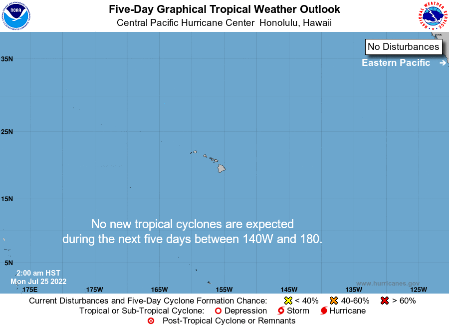 Central Pacific 5-Day Tropical Outlook