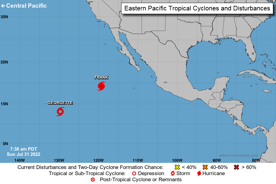 Océano Pacífico oriental National Hurricane Center outlook