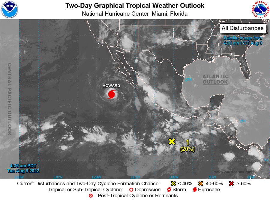 Hurricane storm and weather info for La Paz Cabo San Lucas