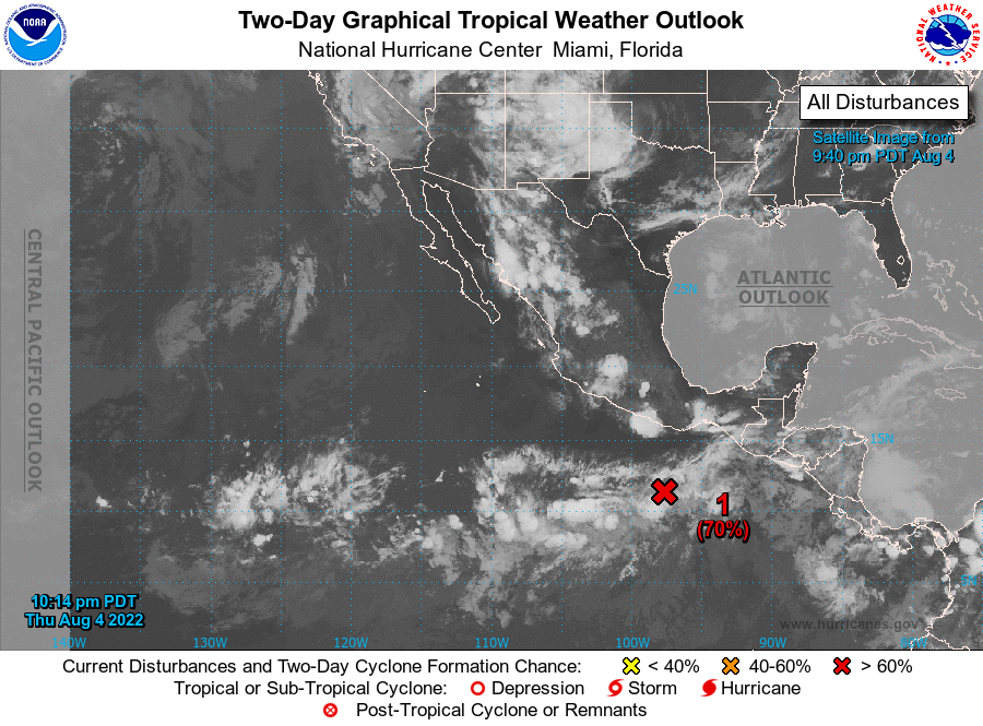 Eastern Pacific Two Day Tropical Weather Outlook