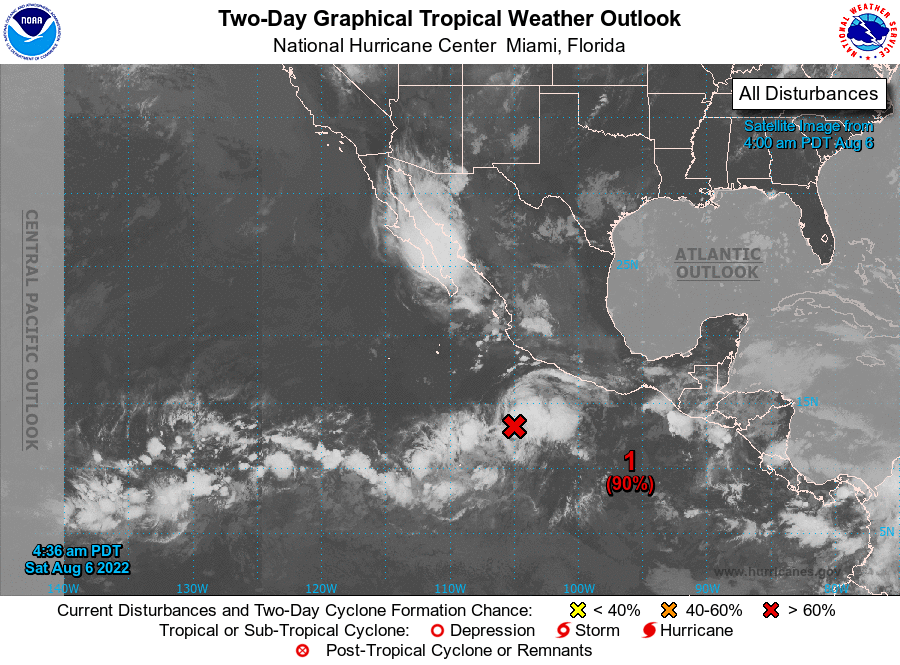 NHC Eastern Pacific 2-Day Tropical Weather Outlook