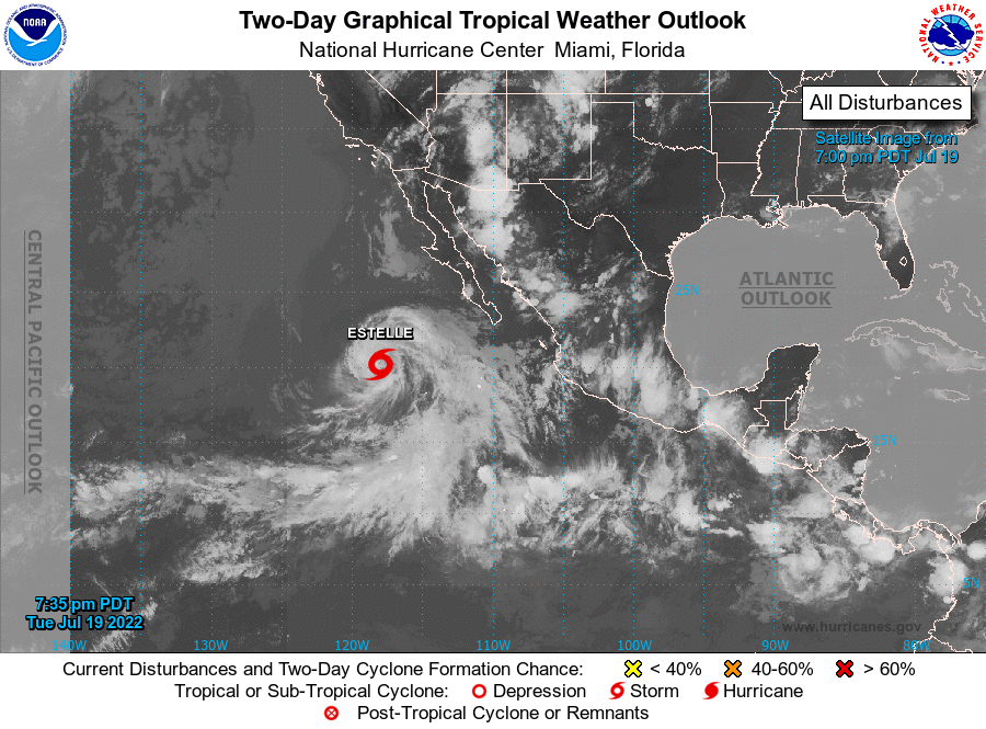 Invest area 91-E in the east Pacific has a good chance of developing in to the season's first hurricane for that part of the world. Forecast models show it moving away from Mexico