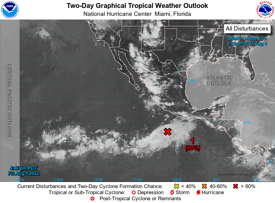 East Pacific area of interest well to the southwest of Mexico - it has only a 10% chance of developing further over the next few days.