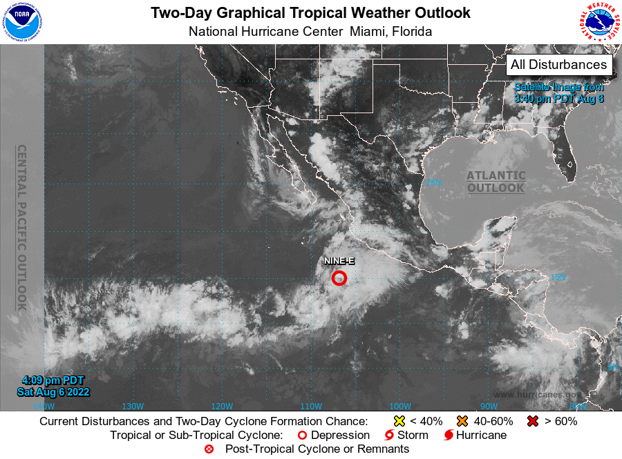 Pacific Graphical Tropical Weather Outlook from National Hurricane center